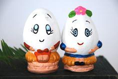 Vintage Egg Figurines Hand Painted Plaster by BeckoningBeefyGems, $14.00
