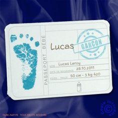 Faire-part de naissance passeport garcon - NC10-026-1