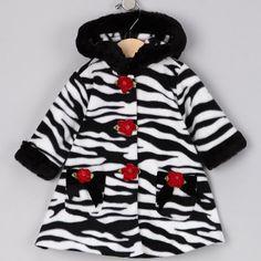 Bonnie Jean LITTLE GIRLS 4-6X BLACK WHITE ZEBRA ANIMAL PRINT HOODED Fleece Coat $33.60