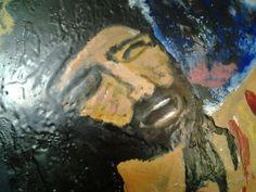 Título el sufrimiento de Cristo  Encausto sobre madera 100x40cm Autor Leonardo Muñiz