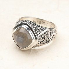 Willow House Jewelry by Sara Blaine  Bali Scroll: Labradorite Ring   Sterling silver shows off luminous labradorite  $60