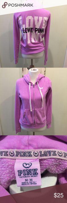 Victoria's Secret PINK Full Zip Hoodie Purple M Size Medium on this Victoria's Secret Pink Full Zip Long Sleeve Hoodie Sweatshirt.  Color Purple with Love Pink on the back. PINK Victoria's Secret Tops Sweatshirts & Hoodies