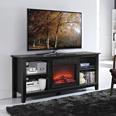 "Walker Edison W58FP18BL 58"" Black Wood TV Stand with Fireplace Insert"