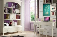 Grupo Seys Basilea solid wood writing desk in linen and lilac with matching furniture High Design, Solid Wood Desk, Writing Desk, Corner Desk, Interior Decorating, Decorating Ideas, Bookcase, Drawers, New Homes
