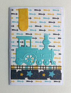 Card small gift card children kid birthday card with train Marianne design train die LR0308 - til og fra kort fødselsdag med lokomotiv tog - Carta Bella: Boy oh Boy - paper pad collection - JKE