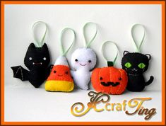 FELT / FEUTRINE / VILT - HALLOWEEN - Felt Halloween Ornaments PDF pattern- Bat / Ghost / Pumpkin / Candy Corn / Black Cat. $4.00, via Etsy.