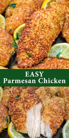 Easy Parmesan-Crusted Chicken Easy Parmesan-Crusted Chicken,COOKTORIA'S VIDEO RECIPES This kid-friendly, Easy Parmesan-Crusted Chicken is crunchy on the outside and succulent on the inside. It is a flavorful and elegant dish that everyone will enjoy! Breaded Chicken Recipes, Easy Chicken Recipes, Healthy Chicken, Parmasean Chicken, Baked Parmesan Crusted Chicken, Breaded Chicken Tenders, Keto Chicken, Recipes For Chicken Fillets, Baked Chicken