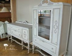 Anew Nature - Gallery, beautiful french provincial dining set. distressed, french, upcycle, redo, buffet, china cabinet, dreamy, cottage, shabby chic