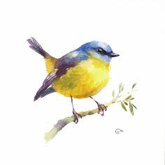 Watercolor Bird Yellow Robin Original Watercolor от CMwatercolors