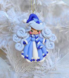 Polímero artesanales arcilla nieve niña ornamento