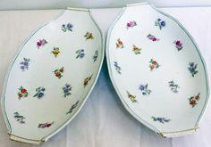 Set Of 2 Oval Porcelain Floral Dishes, Marked France