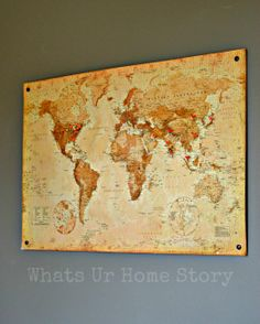 """""""Cork board map tutorial, diy cork board map"""" YES!!! This is what I want to do! Mine is only USA map right now...and would love it to be bigger! *-*"""