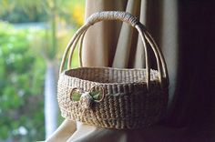 Items similar to L. Weaving seagrass (water hyacinth) basket straw basket handmade from Thailand on Etsy Water Hyacinth, Basket Weaving, Straw Bag, Thailand, Unique Jewelry, Handmade Gifts, Bags, Life, Etsy