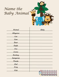 safari name the baby animal game baby animal game baby shower