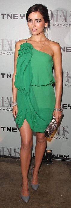 Green dress & grey heels - Perfect look!