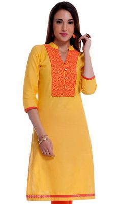 Yellow with Orange Embroidered Cotton Dobby Kurti T Shirt Tutorial, Indian Dresses, Lace Dresses, Kurti Patterns, Dobby, Salwar Kameez, Well Dressed, Dame, Cold Shoulder Dress