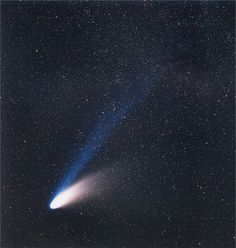 Comet Hale–Bopp, which shone in the night sky in Long period comets such as Hale-Bopp were once deemed to be the primary impact hazard to Earth. Cosmos, Meteor Shower, Star Pictures, Space And Astronomy, Earth From Space, Aesthetic Photo, Outer Space, Solar System, Science Nature