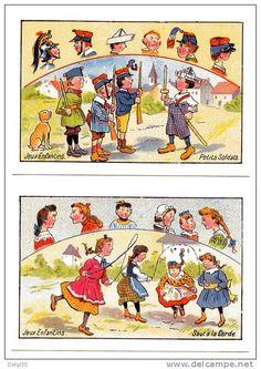 Jeux enfantins: Saut à la corde et petits soldats, lot de 2 cartes - Delcampe.net