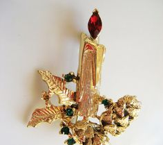 Candle Rhinestone Gold Tone Pin Brooch Vintage 80s