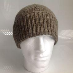 Mens Dark Khaki 20% Wool Aran Beanie Hat  - Hand Knitted in Scotland by sewmoira on Etsy