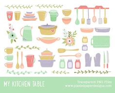 """Kitchen & Cooking Clip Art: """"MY KITCHEN CLIPART"""" Digital clipart for scrapbooking, card, invites. Commercial Use."""
