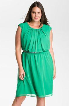 Calvin Klein Belted Blouson Chiffon Dress (Plus)  #usingmychiffon