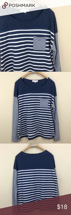 """Two by Vince Camuto Striped Pocket Tee Two by Vince Camuto Striped Pocket Tee in navy and white. Long sleeve. Scooped neck. Slight hi lo hem. Size XL. Bust: 42"""" Length: 26""""   Small little stain near bottom front. Two by Vince Camuto Tops Tees - Long Sleeve"""