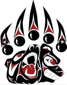 "A Powerful Path"" - Bear Paw Print to by Coast Salish Artist, Darrell Thorne Native American Tattoos, Native Tattoos, Native American Symbols, Native American Design, Native Design, American Indian Art, Native American Drawing, Native Symbols, American Women"