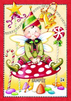 Licensed Mary Engelbreit Christmas Holiday Fridge Magnet Refrigerator Collectibles Elf. $4.25, via Etsy.