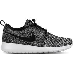 Nike Roshe One Flyknit Sneakers ($127) ❤ liked on Polyvore featuring shoes, sneakers, black, black laced shoes, lace up sneakers, nike, lacing sneakers and cotton shoes