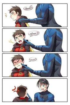 Damian Wayne and Dick Grayson Cute Batman, Batman Y Superman, Superman Family, Batman Robin, Batman Arkham, Batman Art, Nightwing, Batgirl, Dc Memes