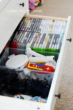 love the idea of video game storage in an old dresser. Keeping my eyes open at flea markets this spring   A Bowl Full of Lemons