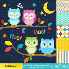 Owl Series 1 Digital Clipart : 55 Graphics Super Value ----------------------- ★★ Package Included ★★----------------------------------- *You Owl Clip Art, Baby Clip Art, Owl Background, Composition Design, Cute Owl, Woodland Animals, Digital Collage, Party Printables, Baby Animals