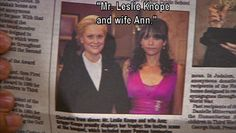 """Parks and Recreation Season One Episode 5: The Banquet. """"Mr. Leslie Knope and wife Ann."""""""