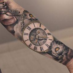 pocket-watch - 100 Awesome Watch Tattoo Designs  <3 <3