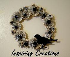Paper Fan Flower Wreath