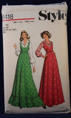1970's Sewing Pattern for a Woman's Pinafore Dress & Blouse in Size 16 - Style 1418 by TheVintageSewingB on Etsy