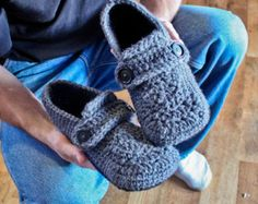 Crochet Mens Slipper Pattern Opa Slippers Child/Men by Mamachee