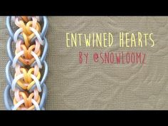 Rainbow loom bands entwined hearts by @snowloomz