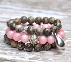 Earthy chic hues of tan, ivory, grey & pale pink with silver accents. Set of 2.    Also shown stacked with blush pink beaded bracelet & neutral