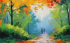 Natural Park Painting HD Wallpaper