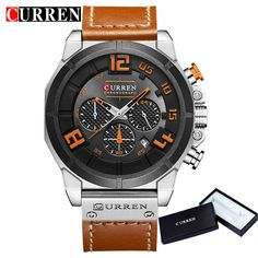 CURREN Top Brand Chronograph Quartz watches Men 24 Hour Date Men Sport Leather Wrist Watch  8287. Yesterday's price: US $40.78 (33.75 EUR). Today's price: US $17.13 (14.18 EUR). Discount: 58%.