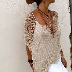Boho chic clothing summer linen and silk poncho rustic Boho Chic, Style Boho, Hippy Chic, Hand Knitted Sweaters, Knitted Poncho, Bikini, Hippie Elegante, Bohemian Schick, Böhmisches Outfit
