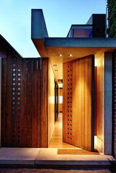 Statement wood entrance door