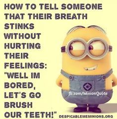 "How to tell someone that their breath stinks without hurting their feelings:  ""Well I'm bored, let's go brush our teeth!"" - minion"