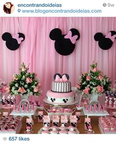 44 Trendy Ideas For Baby Shower Ides Minnie Mouse Theme Minnie Mouse Birthday Decorations, Minnie Mouse Theme Party, Minnie Mouse First Birthday, Minnie Mouse Baby Shower, Minnie Birthday Ideas, 1st Birthday Parties, Shower Ideas, Ideas Party, Party Themes