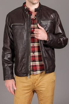 Marc New York/Andrew Marc Decoy Distress Leather Motocross w. Zipper Detail & Elbow Patch