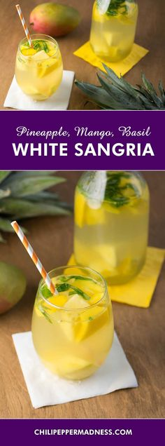 White Sangria with Pineapple, Mango and Basil - A refreshing sangria cocktail recipe made with white wine, juicy pineapple, fresh mango and basil, perfect for lazing along the beach or for your next evening gathering.