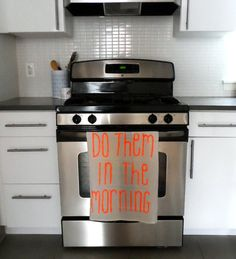 Do Them in the Morning // After Party Neon Orange Kitchen Towel
