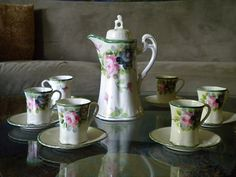 beautiful chocolate pots | Chocolate Pot Set Vintage, Antique: Hand Painted with 6 Cups and ...